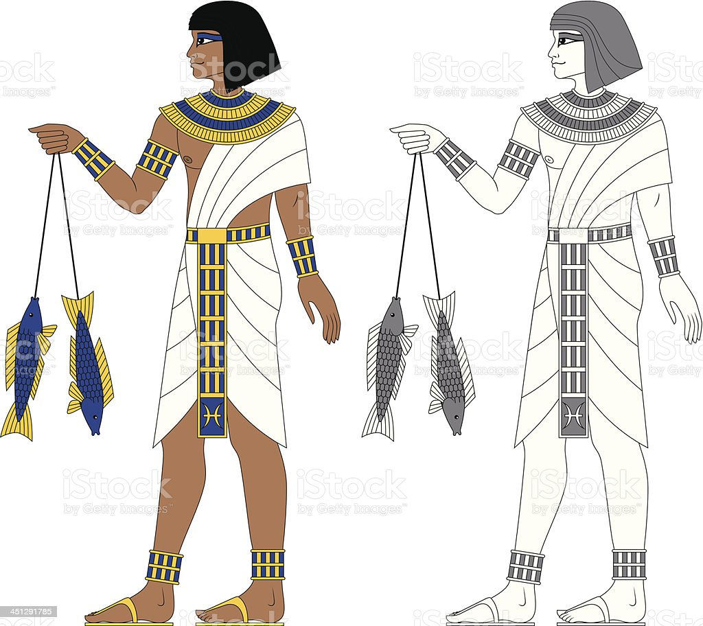 Egyptian Zodiac: Pisces royalty-free stock vector art