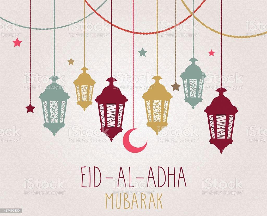 Eid Al Adha mubarak poster. Hanging colorful lantern vector art illustration