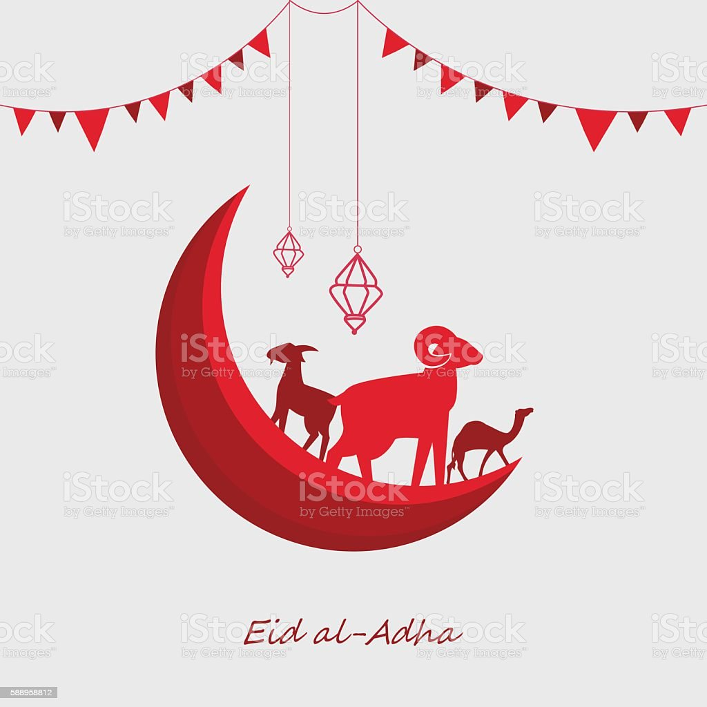 Eid al-Adha with chain flag, goat, sheep and camel silhouette vector art illustration