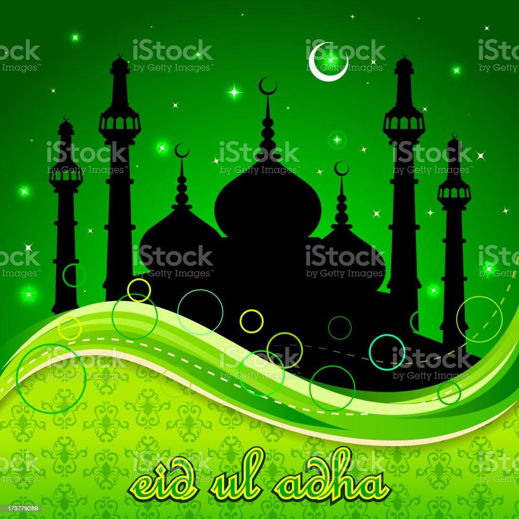 Eid Mubarak background with Islamic Mosque royalty-free stock vector art