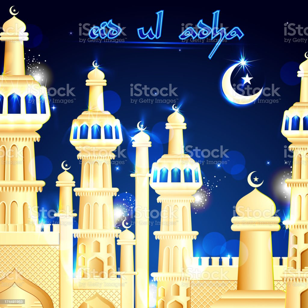 Eid Mubarak background with Islamic Mosque royalty-free stock vector art