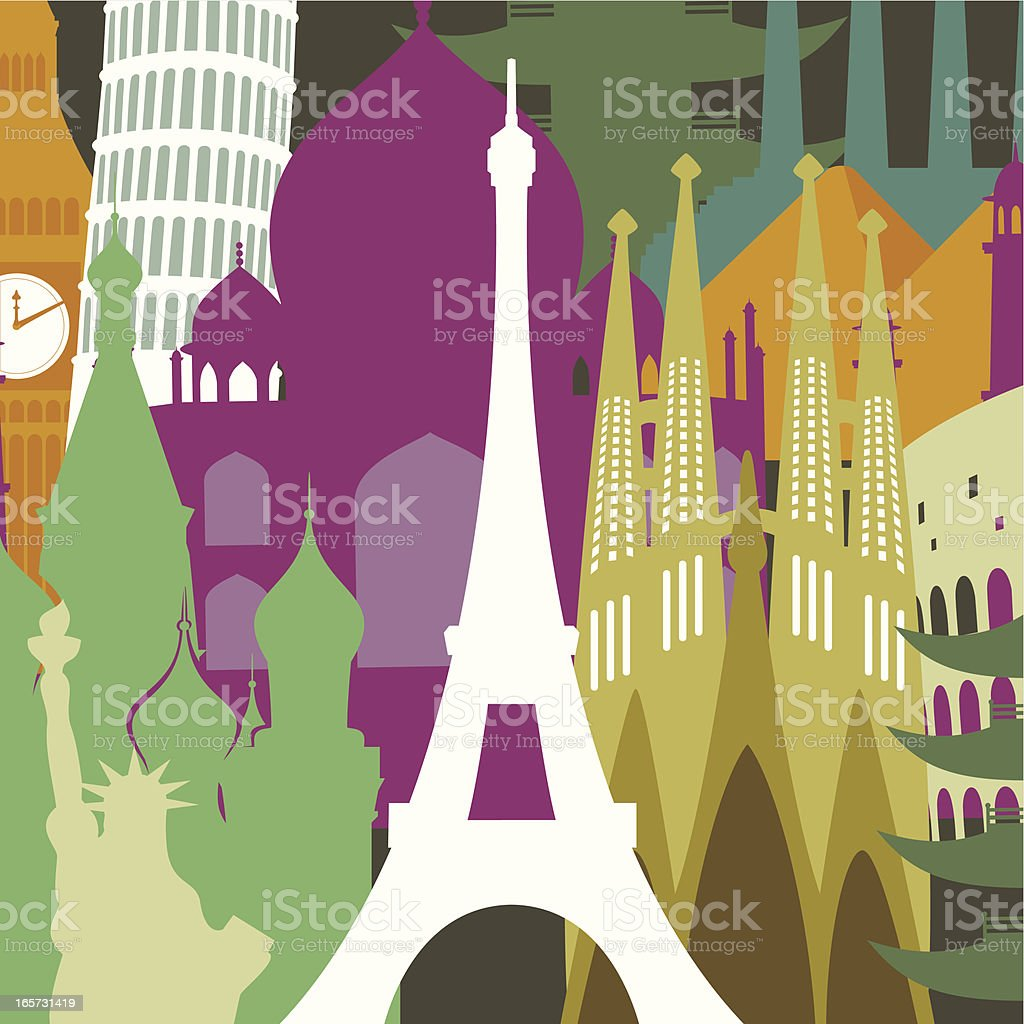 Eiffel tower against monuments background vector art illustration