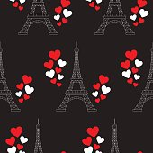 Eiffel Tower and hearts, vector seamless pattern.