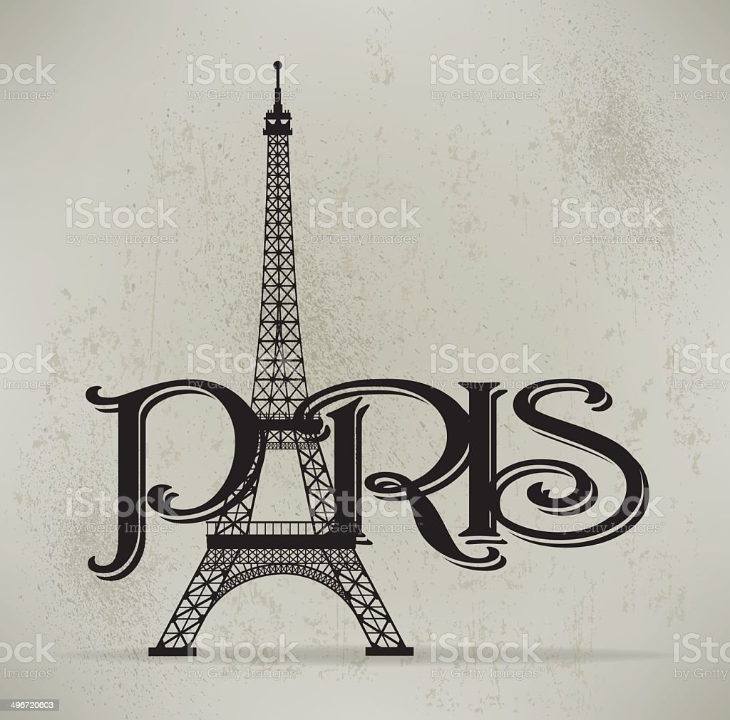 Eiffel Tower Background, Paris France Graphic Background vector art illustration