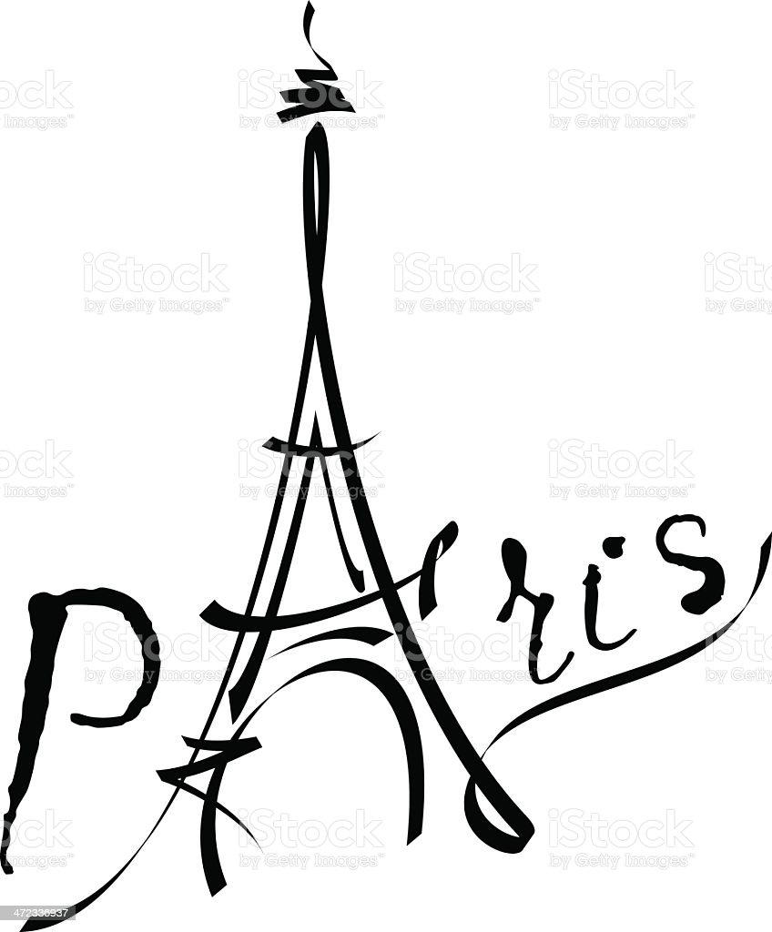 Eiffel Tower black vector illustration vector art illustration