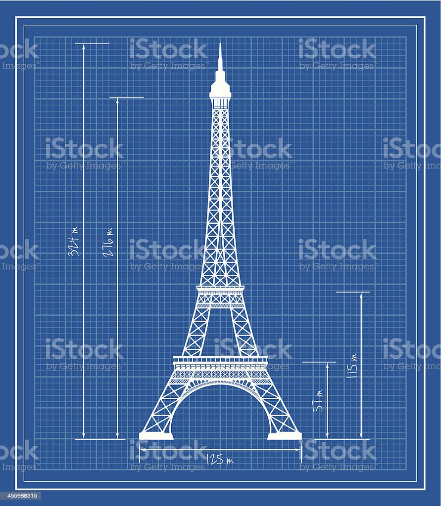 Eiffel Tower blueprint vector art illustration