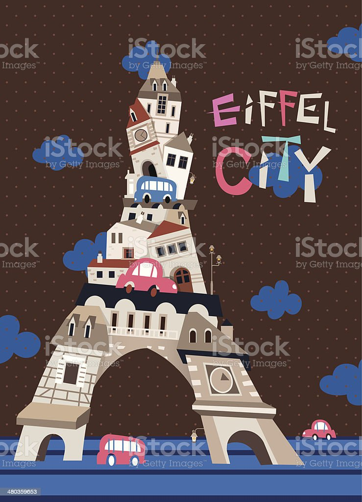 Eiffel Tower City_brown royalty-free stock vector art