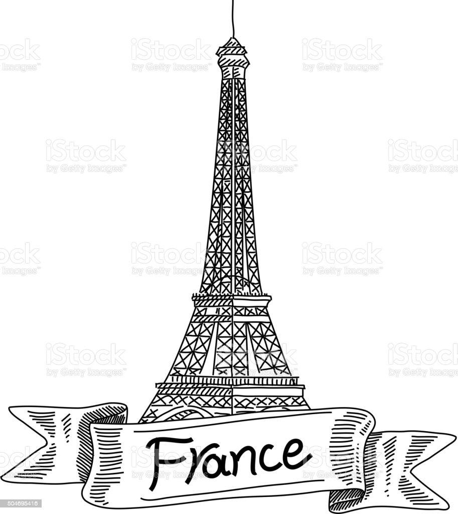 Eiffeltoren Parijs Kleurplaat Eiffel Tower France Drawing Stock Vector Art 504695416
