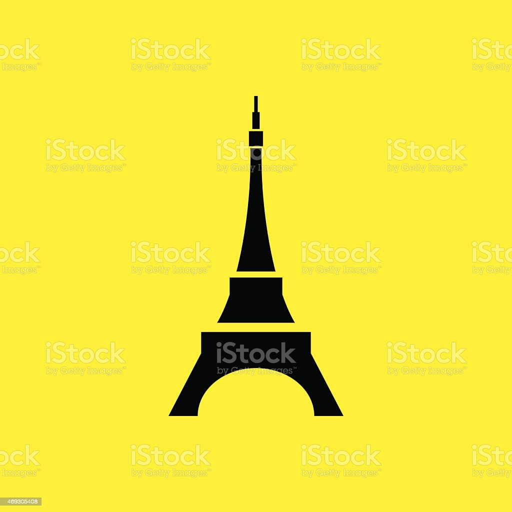 Eiffel tower in Paris. Isolated on white background. vector art illustration