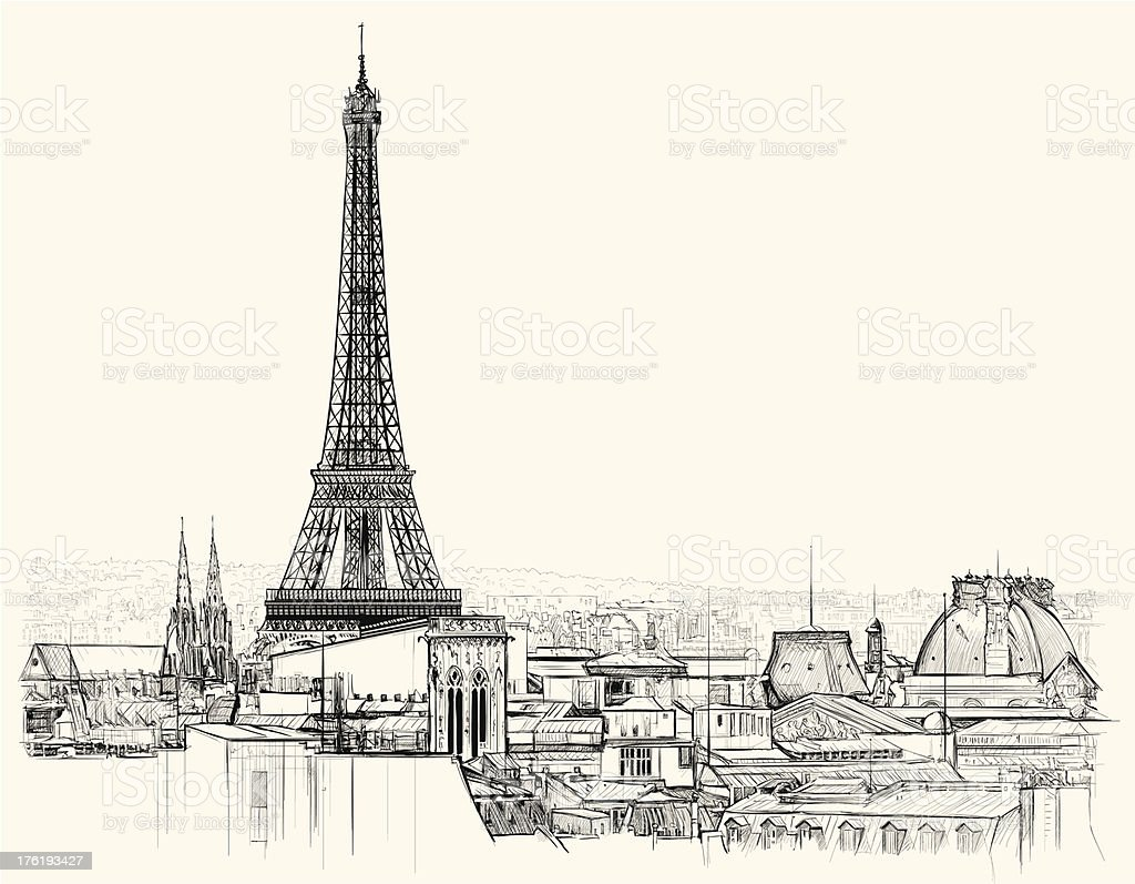Eiffel tower over roofs of Paris vector art illustration