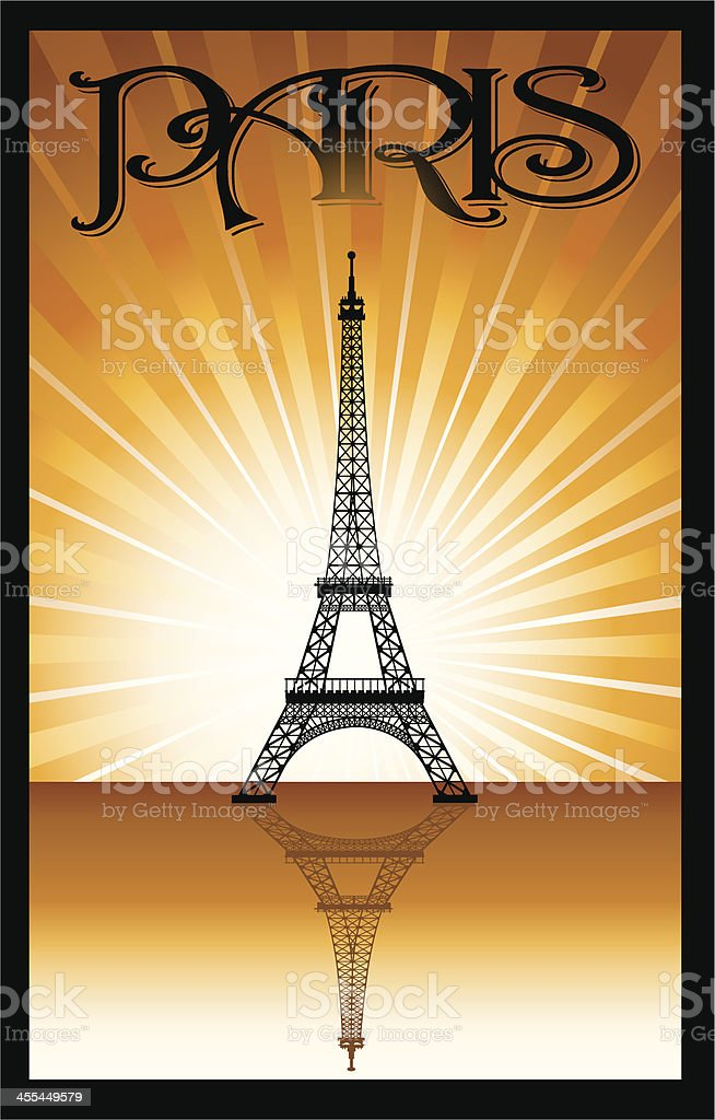 Eiffel Tower - Paris France Background royalty-free stock vector art
