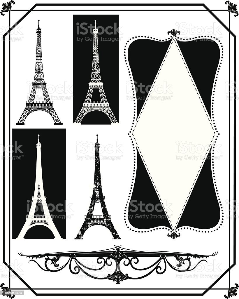 Eiffel Tower - Paris France, French Design royalty-free stock vector art