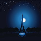 Eiffel Tower - Paris France, Moonlight Background