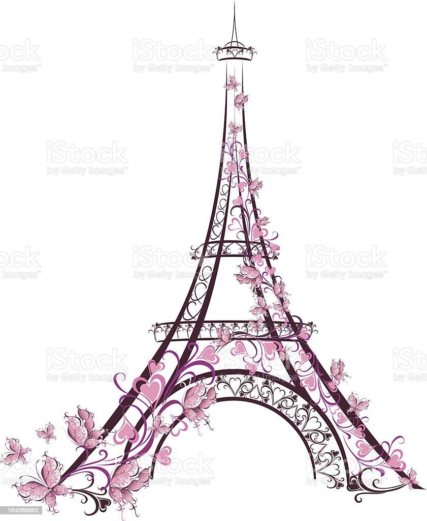 Eiffel Tower, Paris, France vector art illustration