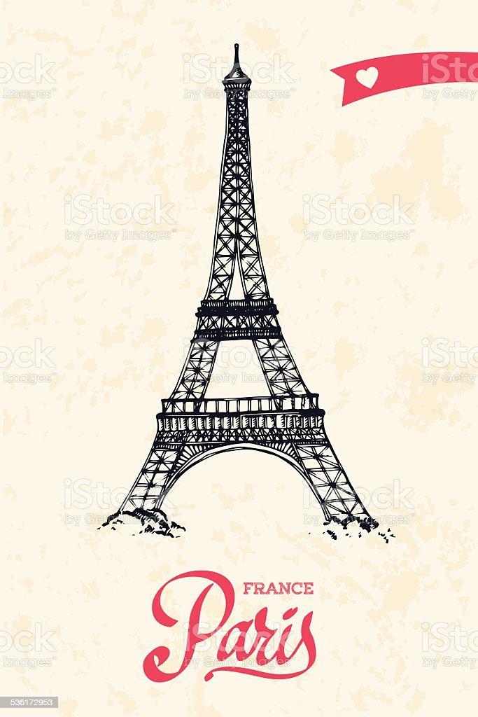 Eiffel tower parisian symbol hand drawn vector illustration vector art illustration