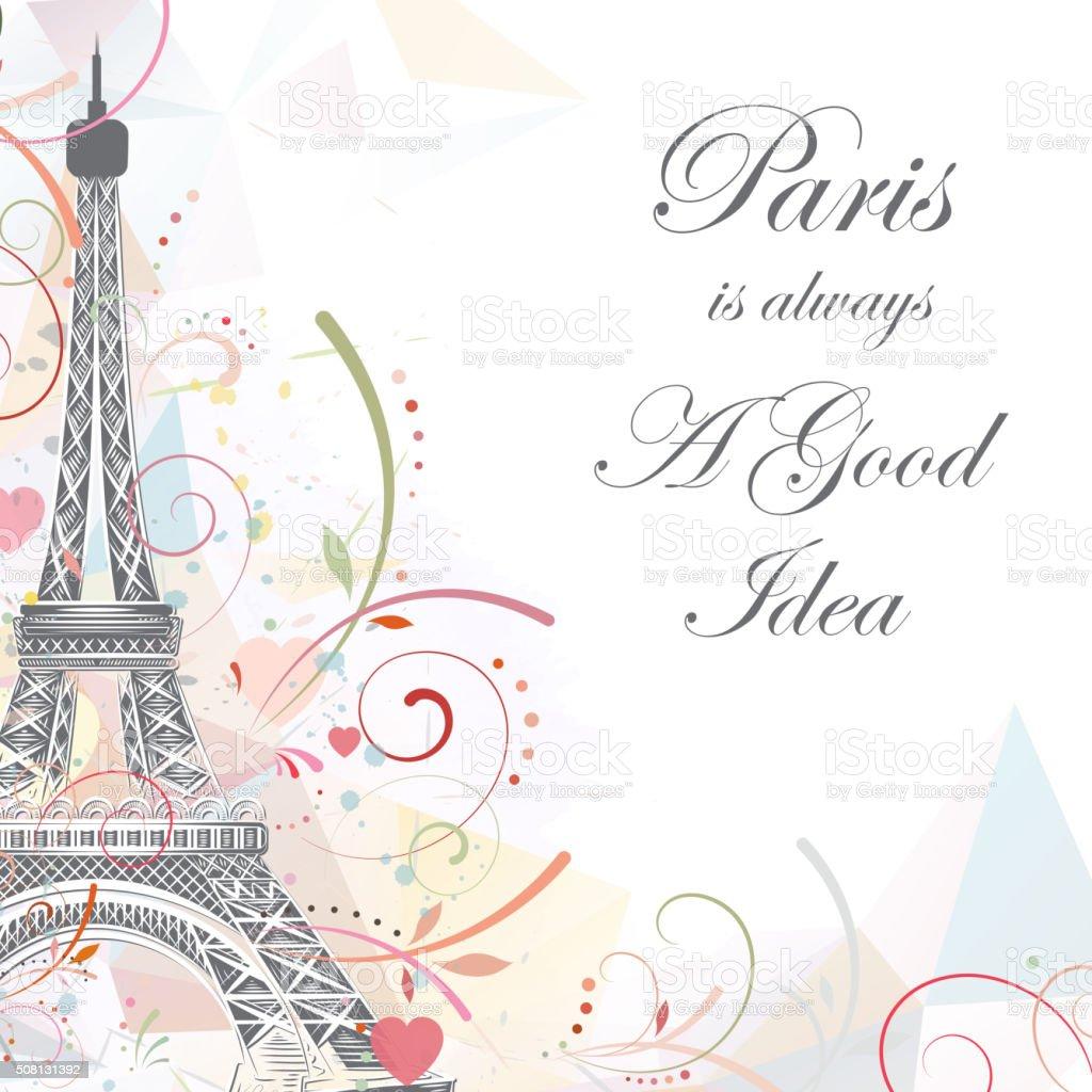 Eiffel tower, romantic background vector art illustration