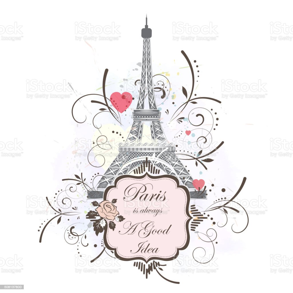 Eiffel tower, romantic background vector art illustration