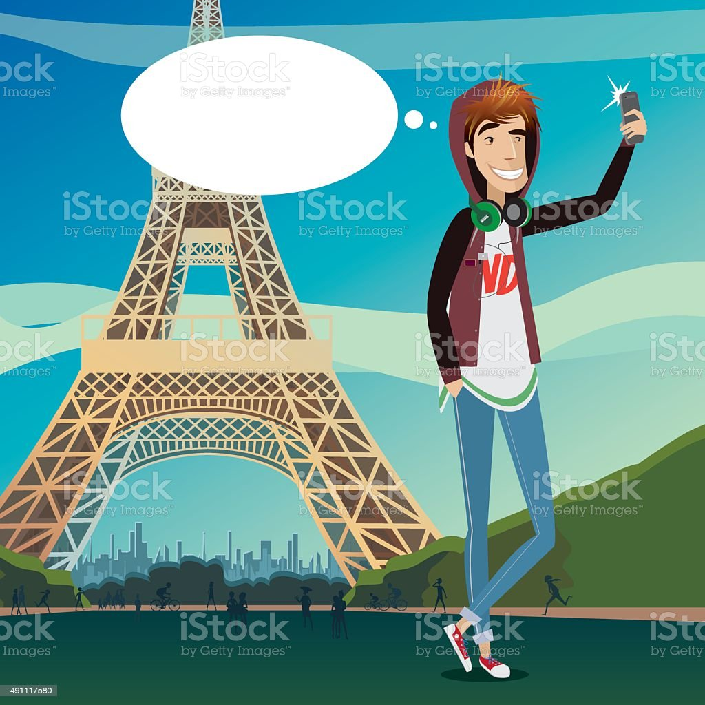 Eiffel Tower selfie vector art illustration