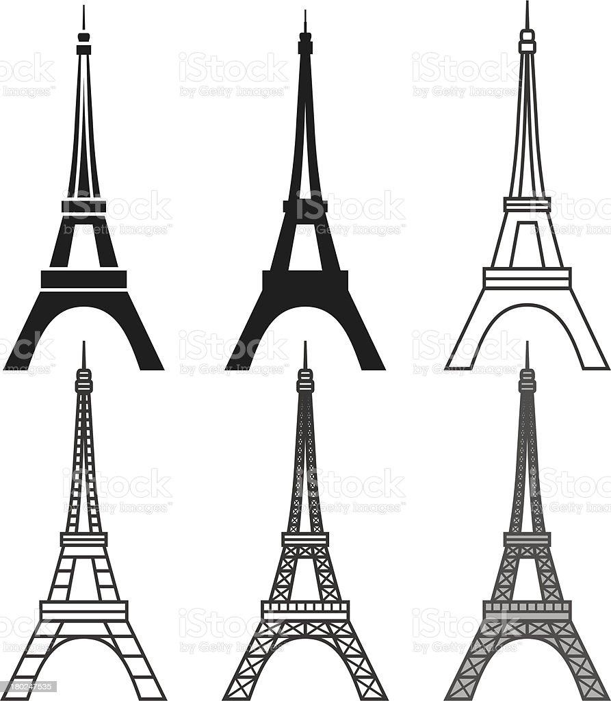 Eiffel Tower set vector art illustration