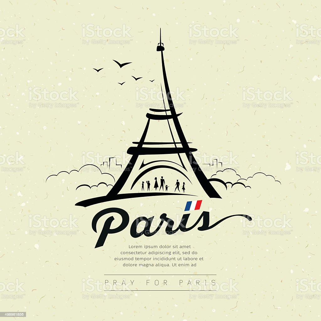 Eiffel tower sketch design on cream recycle paper vector art illustration