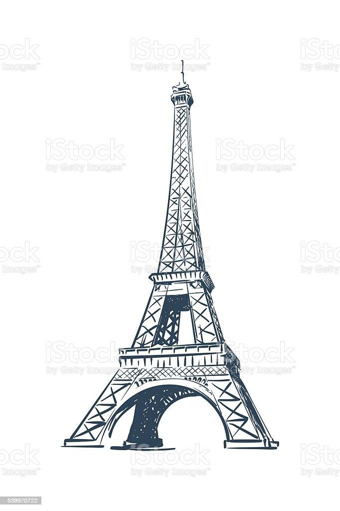 Eiffel Tower sketch on white BG vector art illustration