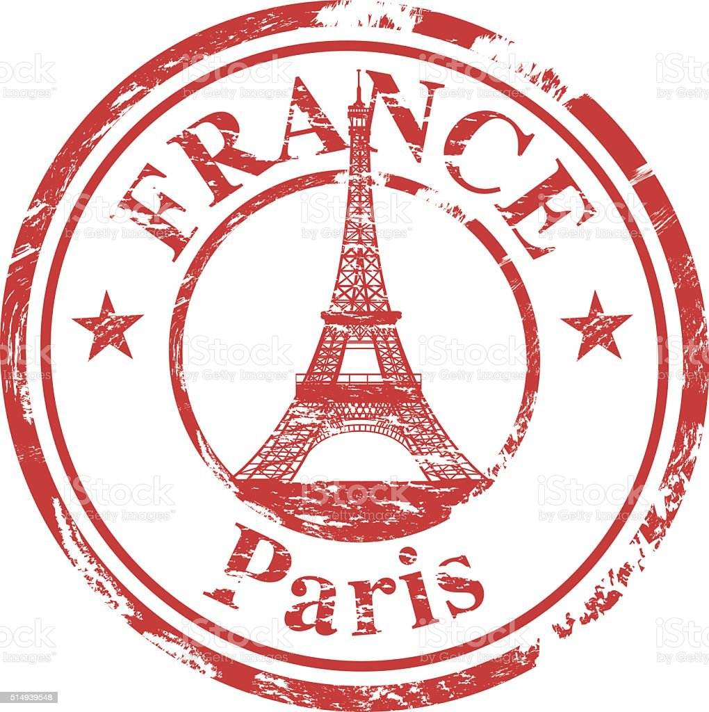 Eiffel Tower Stamp vector art illustration