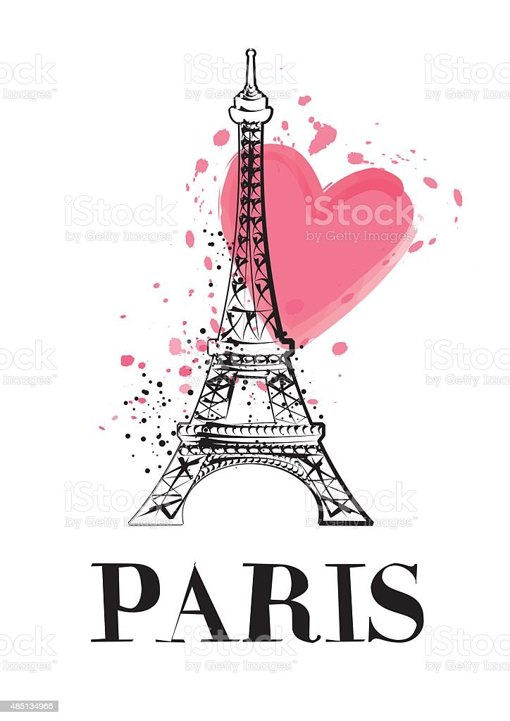 Eiffel tower vector vector art illustration