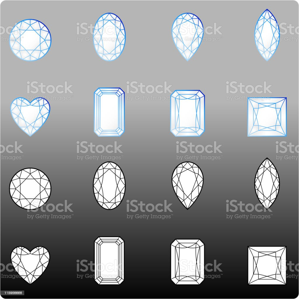 Eight accurate diamond cuts vector art illustration