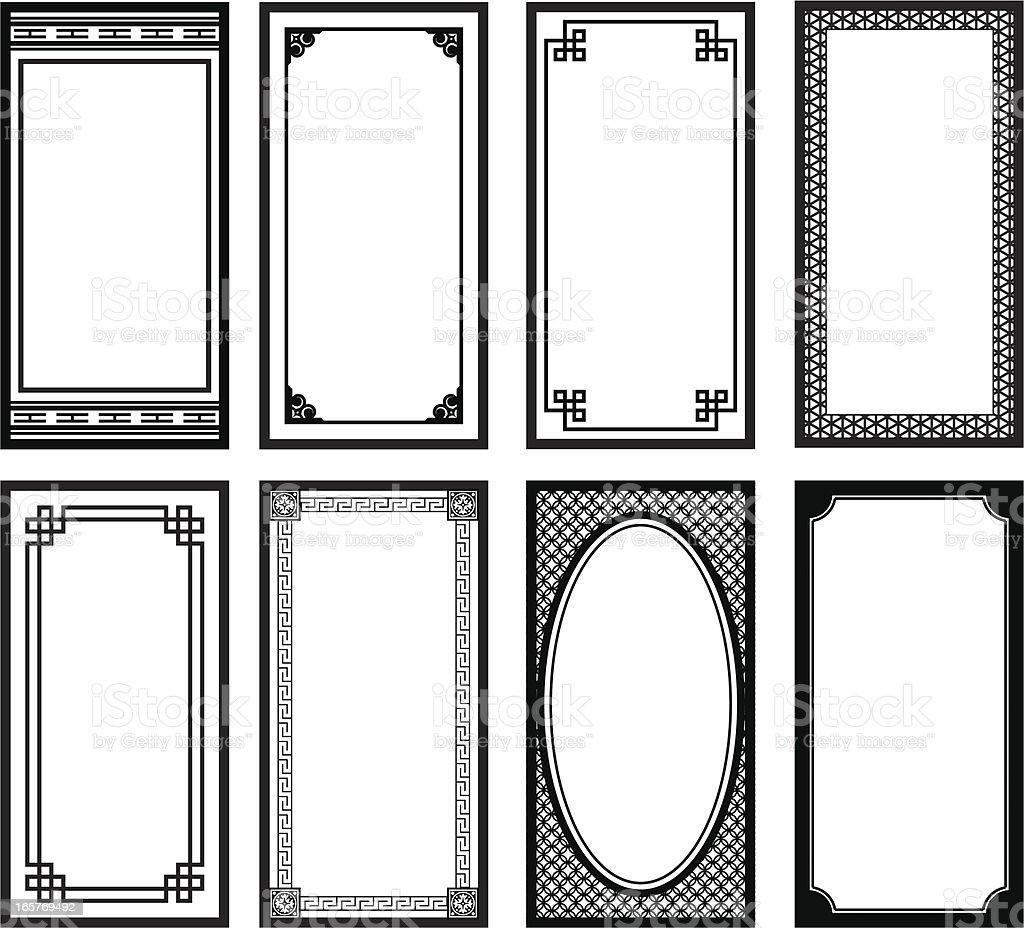 Eight Asian style frames royalty-free stock vector art