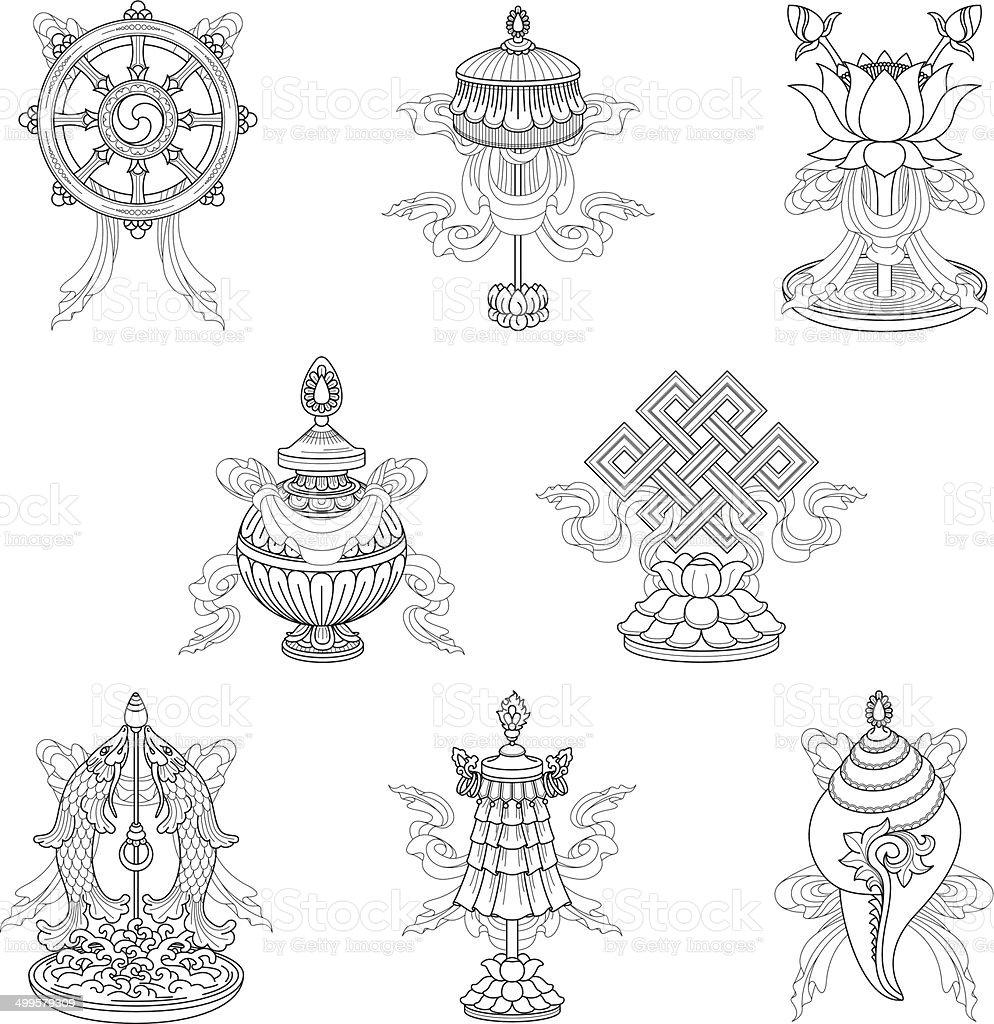 Eight auspicious signs / Ashtamangala (Line drawing) – (Buddhist symbols) vector art illustration