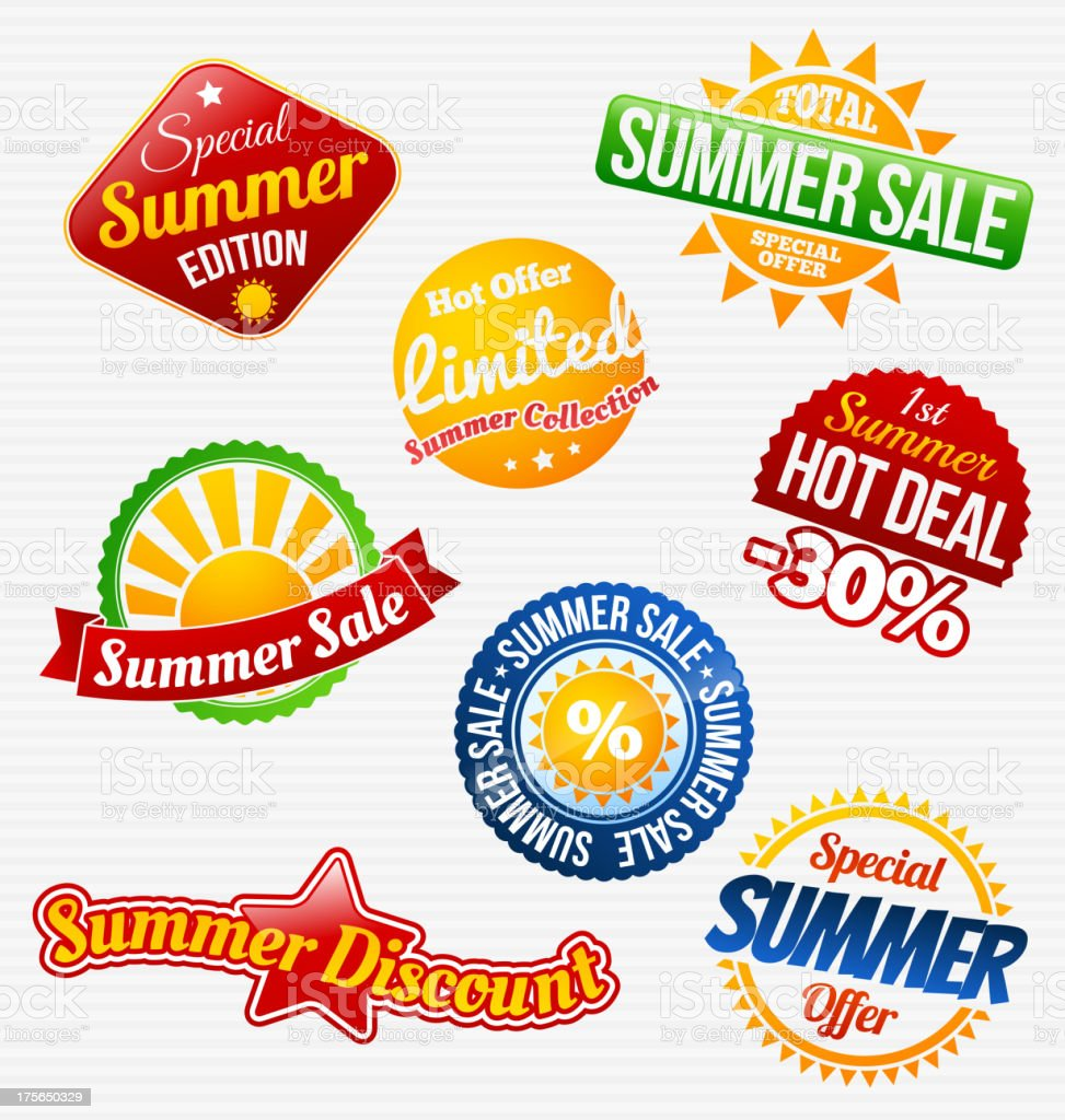 Eight badges for summer sales and discounts vector art illustration