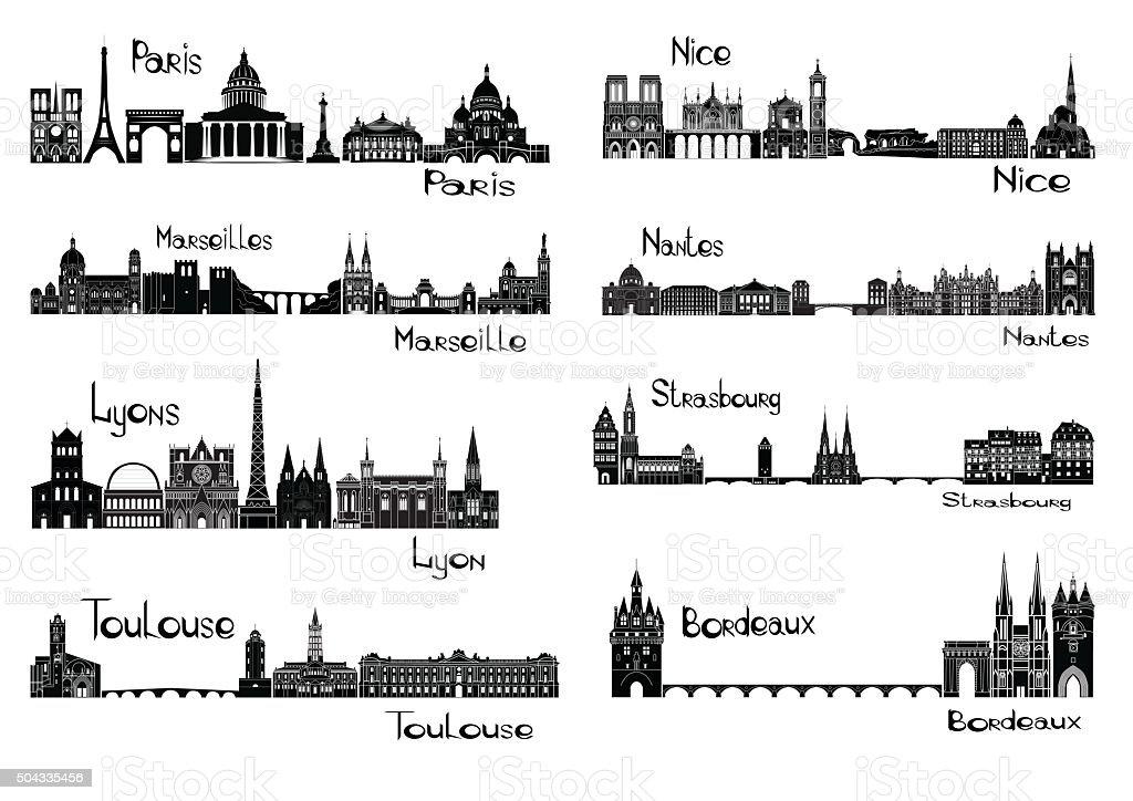 Eight cities of France vector art illustration