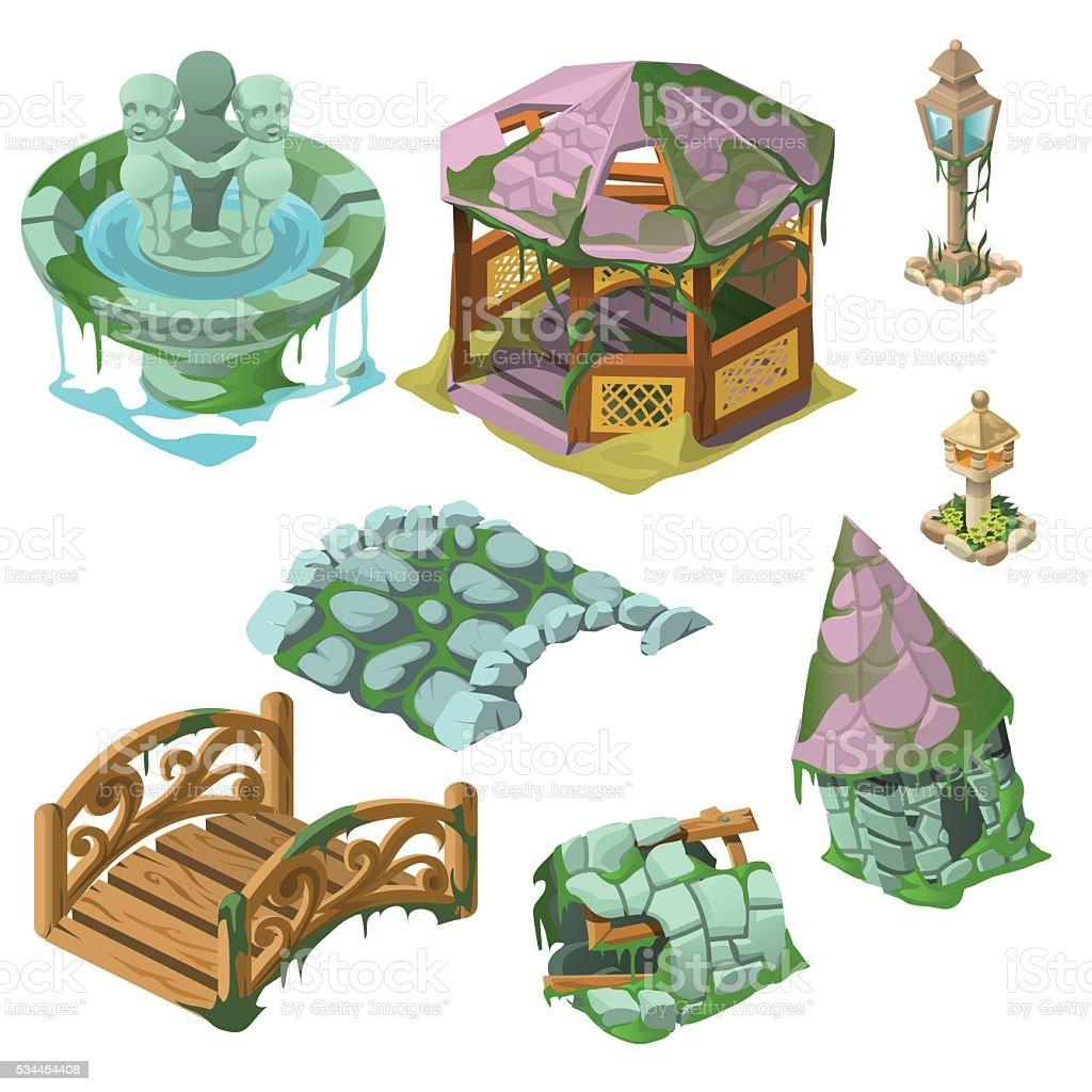 Eight decorative elements of the Park vector art illustration