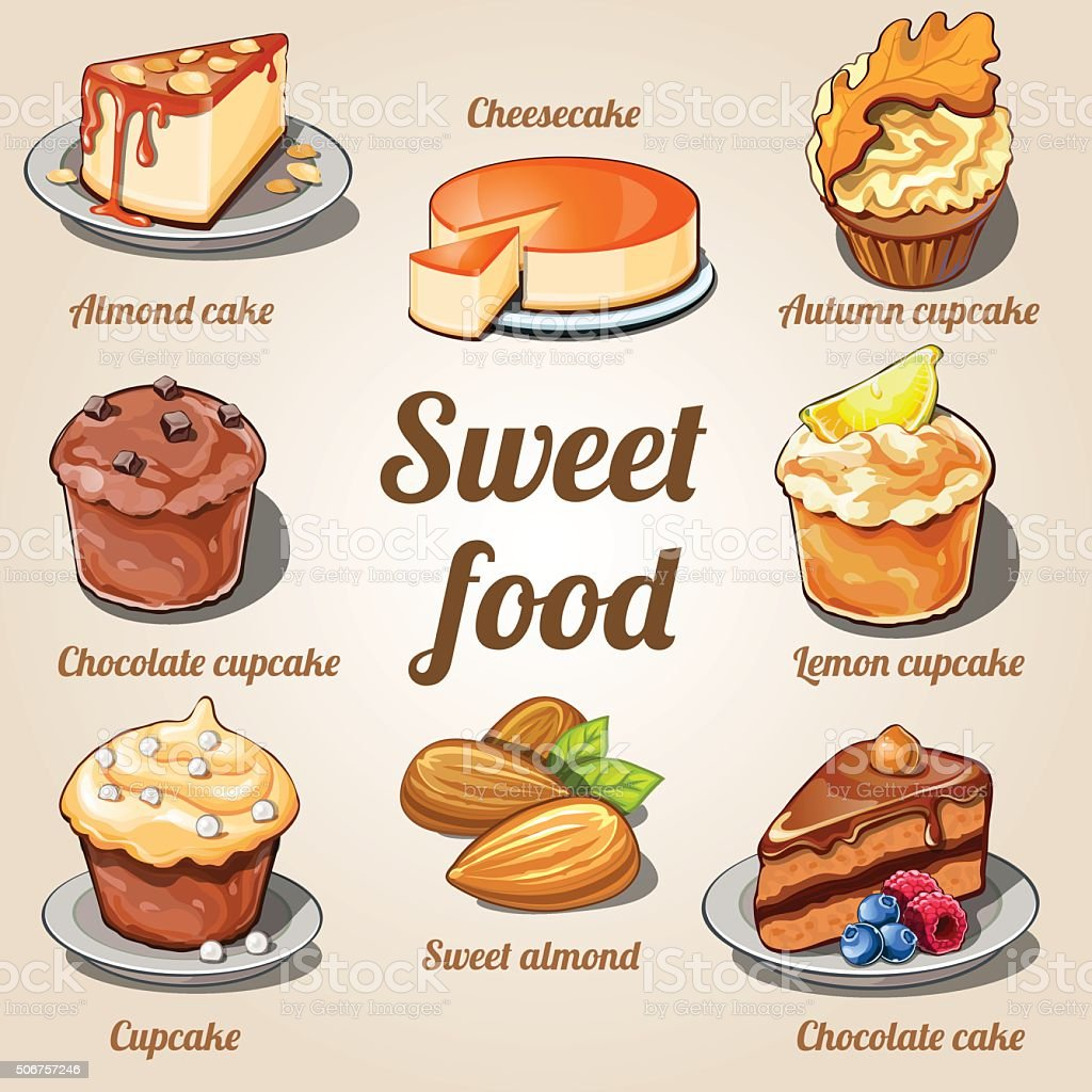 Eight delicious cakes and cupcakes in one set vector art illustration