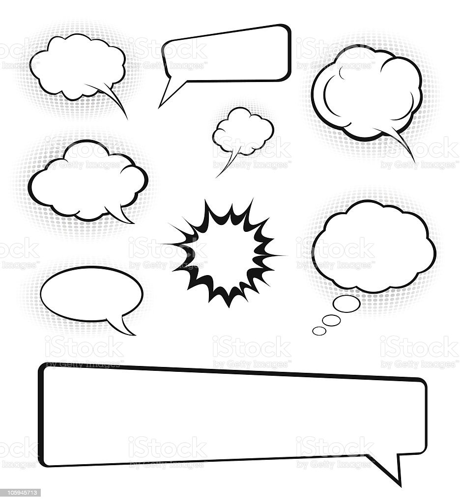 Eight different kinds of speech bubbles royalty-free stock vector art