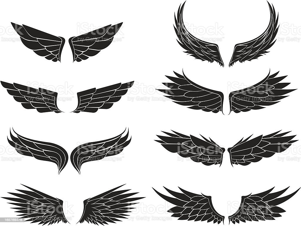 Eight different kinds of wings royalty-free stock vector art
