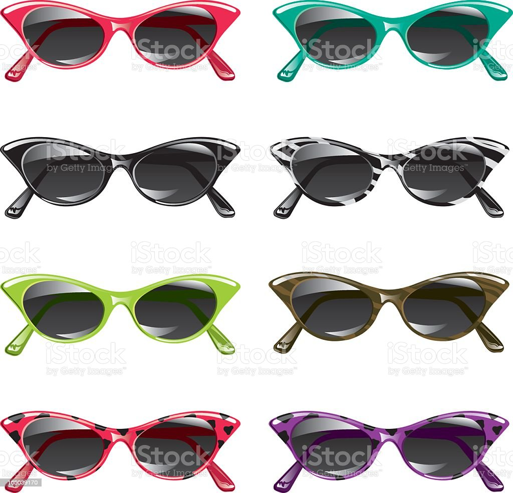 Eight different pairs of vector style sunglasses  vector art illustration