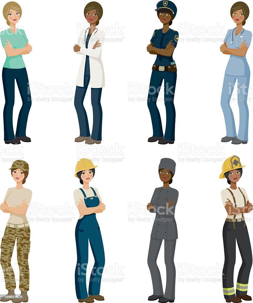 Eight Female Professions Icon Set vector art illustration