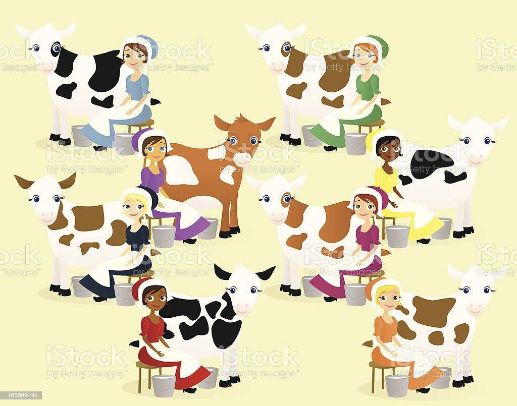 Eight Maids a-Milking vector art illustration