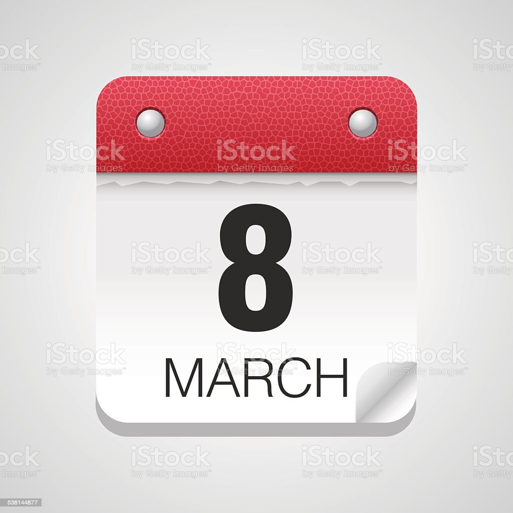 Eight of march calendar icon vector art illustration