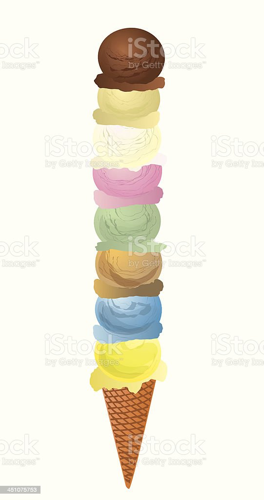 Eight Scoops of Ice Cream vector art illustration