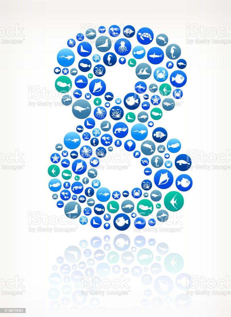 Eight Sea and Marine Life Button Pattern. vector art illustration
