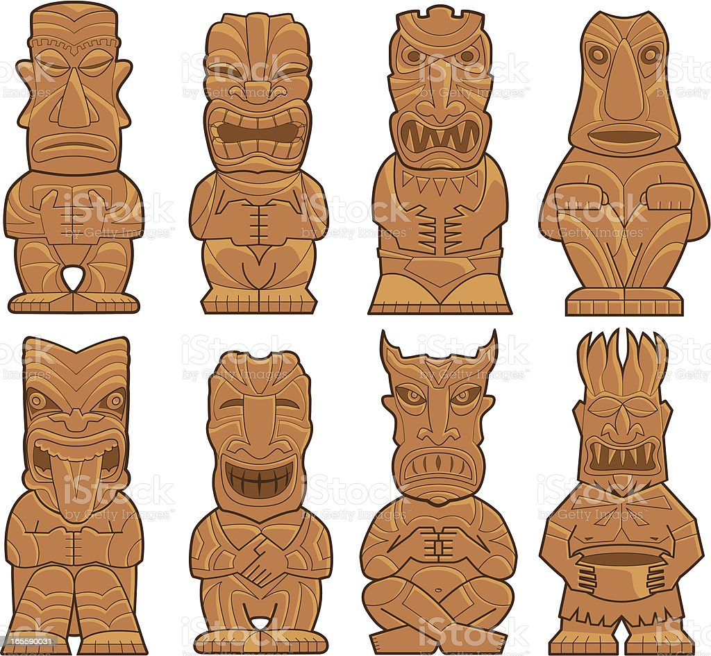 Eight Tiki Gods royalty-free stock vector art