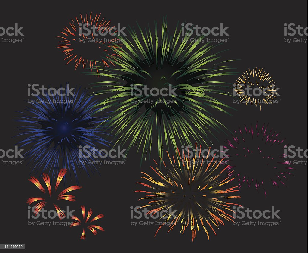 Eight vector fireworks exploding in the night sky royalty-free stock vector art