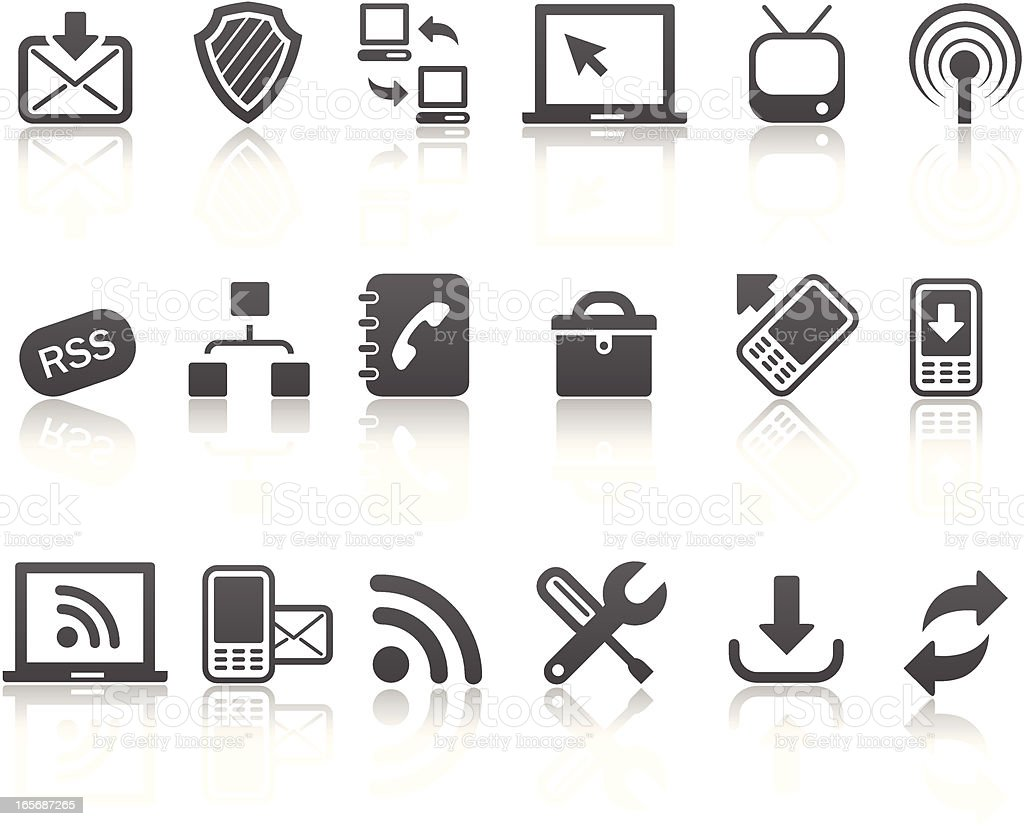 Eighteen different icons representing mono  royalty-free stock vector art