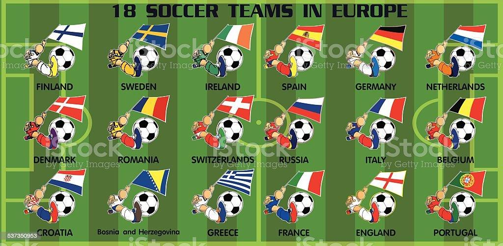 eighteen soccer football teams from Europe vector art illustration