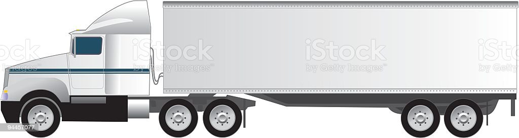 Eighteen Wheeler Tractor Trailer Semi-Truck vector art illustration