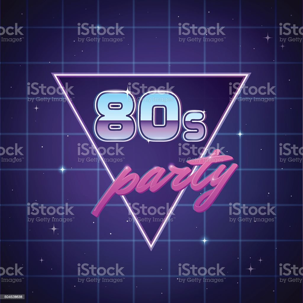 Eighties Party Background vector art illustration