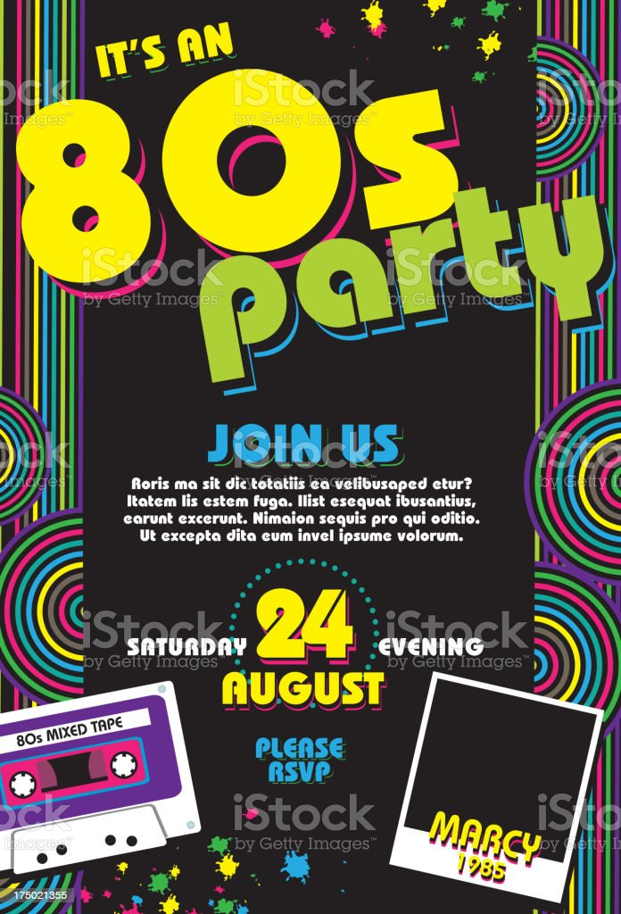 Eighties party themed 80s invitation design template with cassette royalty-free stock vector art
