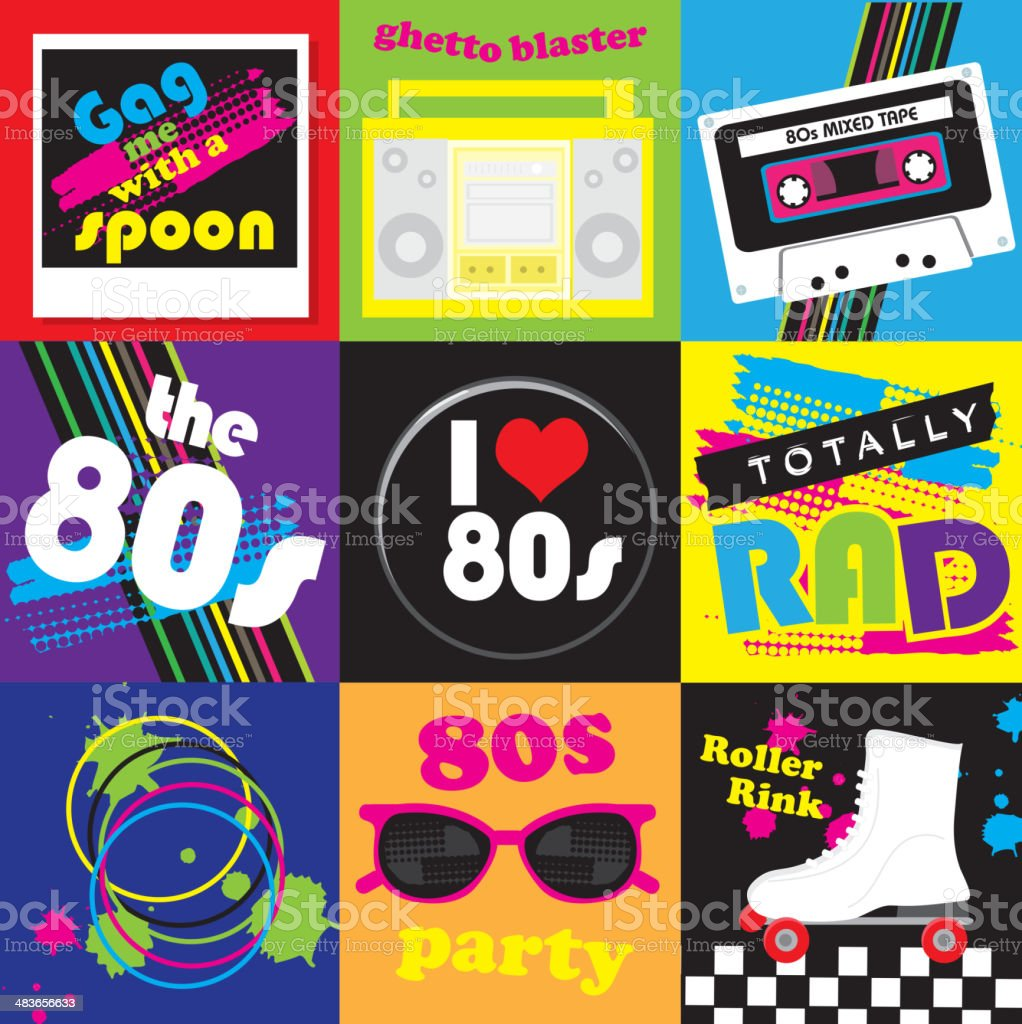 Eighties party themed icon set vector art illustration